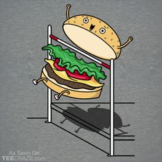 Burger Jump T-Shirt Designed by Raffiti. #TeeCraze #Funny #Food #Burger #tshirt