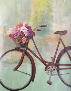 Fleurs Bicyclette II Transportation Art Print - 28 x 36 cm Awsome Pictures, Art Pictures, Basket Drawing, Bicycle Painting, Bicycle Print, Bike Art, Vintage Cards, Flower Art, Framed Artwork