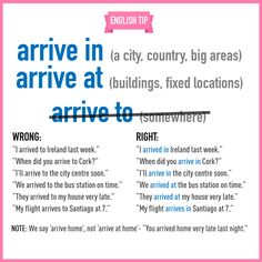 "hellolearnenglishwithantriparto: "" 'ARRIVE IN"" & 'ARRIVE TO' """