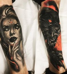 Tattoo artist Brandon Herrera authors color and black&grey horror realistic tattoo Scary Tattoos, Dope Tattoos, Leg Tattoos, Black Tattoos, Body Art Tattoos, Tattos, Tatoo Tiger, Big Cat Tattoo, Black Panther Tattoo