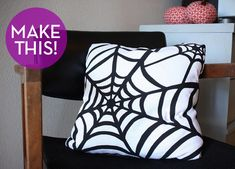 Spiderweb pillow from Curbly - could be done with fabric paint! Great pillow tutorial.