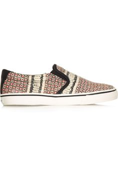 9f8ef634d87d DKNY Beth Printed Snake-Effect Leather Sneakers.  dkny  shoes  sneakers Slip