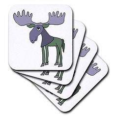 All Smiles Art Animals - Funny Blue and Green Moose Cartoon - set of 4 Coasters - Soft (cst_204417_1) 3dRose http://www.amazon.com/dp/B00UF0HUSK/ref=cm_sw_r_pi_dp_Ekd4wb0CMBEPB