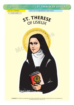 Therese of Lisieux - 1 October Poster Poster On, Poster Prints, St Therese Of Lisieux, Patron Saints, Confirmation, A3, Banners, October, Boards