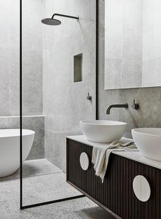 Bathroom tiles with grey tiles, black framed glass. Bathroom tiles with grey tiles, black framed glass. Black Tile Bathrooms, Small Bathroom, Master Bathroom, Glass Bathroom, Stone Bathroom Tiles, Bathroom Ideas, Remodled Bathrooms, Black Vanity Bathroom, Colorful Bathroom