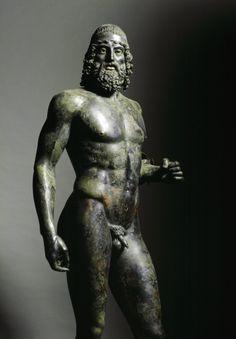 Greek Art. Riace Bronzes. Statue A, detail. Bronze, H205 cm, 460-430 BC. Museo Nazionale della Magna Grecia, Reggio Calabria, Italy