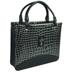 Metallic Croc Purse-Style Bible / Book Cover w/Cross (Large, Black) -- Learn more by visiting the image link.