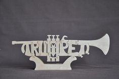 Trumpet Band Instrument Puzzle Wooden Toy Hand Cut With Scroll Saw
