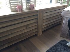 Radiator-ombouw van steigerhout (in elk gewenste maat leverbaar) Diy Radiator Cover, Scaffolding Wood, Interior Styling, Interior Decorating, Palette Deco, Wood Pallet Furniture, Home And Living, Interior Inspiration, Interiores Design