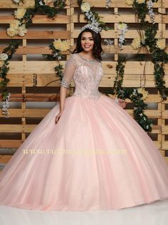 Glitter tulle ball gown with full skirt, beaded bodice, round illusion neckline and back beaded & sequined, three-quarter length sleeves; zipper back with matching cape Quince Dresses, 15 Dresses, Cute Dresses, Beautiful Dresses, Fashion Dresses, Tulle Balls, Tulle Ball Gown, Ball Gowns, Pretty Quinceanera Dresses