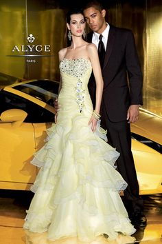 Beautiful and #sexy #Alyce #Prom #Dress.  Comes in Yellow, Coral, and Lilac.  Perfect for #wedding $498