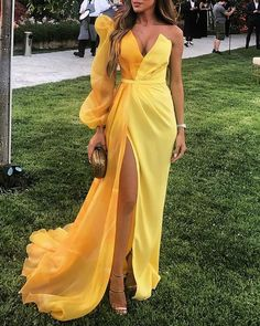 Sexy V Collar Single Sleeve Solid Color Stitching Evening Dresses – joymanmall wedding maxi dress maxi dress fall maxi dress length Cheap Prom Dresses, Formal Dresses, Dresses Dresses, High Slit Dress, Elegant Maxi Dress, Chiffon, Yellow Fashion, Wedding Party Dresses, Party Wedding