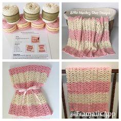 New to LittleMonkeyShop on Etsy: DIY Crochet Kit - Peek a Boo Chevron Baby Blanket Crochet PATTERN  7 skeins of Organic Cotton Yarn - Beginner - Heirloom - Baby Shower Gift (68.00 USD)