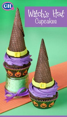 Just add chocolate cones, wafer cookies and tinted buttercream to these Halloween cupcakes for an adorable, witchy idea that your kids will love.