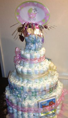 diaper cake. getting ready for baby shower of my friends