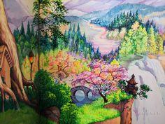 """Роспись в детской """"Сказочный лес"""" выполнена для декорирования интерьера стен детской игровой комнаты в частном доме."""