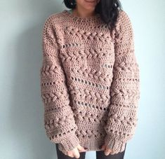 Ravelry: Sensum Sweater pattern by Linda Skuja Make your own cozy Crochet Sensum Sweater! Love the beautiful puff stitch braids. a href='/tag/crochetsweater' a href='/tag/ad' a href='/tag/pattern' So happy I found the perfect yarn for the Sensum Sweater t Pull Crochet, Gilet Crochet, Crochet Hooks, Knit Crochet, Crochet Sweaters, Crochet Patron, Crochet Jumper, Crochet Style, Crochet Cardigan