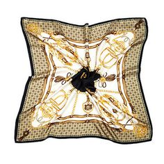 Silk Scarf with Black Horse Shoe & Stirrup - Aspinal of London