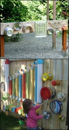 Want your little kids to explore and be more active outdoors? Then you've got to give them something that's really fun and entertaining, like this DIY outdoor music wall! There are many ways to create an outdoor music or sound wall, Kids Outdoor Play, Outdoor Play Spaces, Kids Play Area, Backyard For Kids, Diy For Kids, Garden Kids, Backyard Ideas, Kids Fun, Diy Garden Ideas For Kids