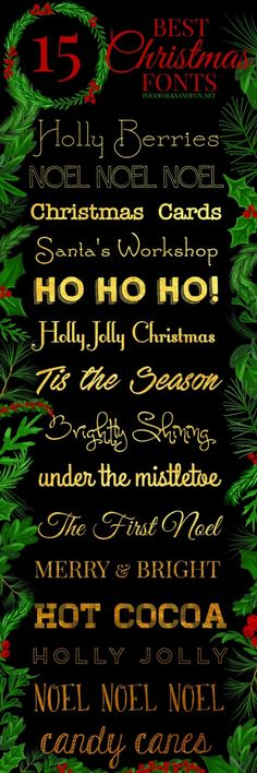 The best & FREE Christmas fonts! These are perfect for all things holiday! Gift tags, printables, Christmas Cards, holiday decor, projects, and more! | Christmas card fonts | free holiday fonts | Merry Christmas Fonts