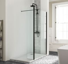 The Harbour Status Matt Black Walk-In Shower Panel is the ultimate contemporary and luxury choice for designer bathrooms.