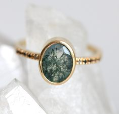 Green Agate Ring, Oval Moss Agate Ring, Garden Agate Ring with Black Diamonds Yellow gold