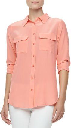 1abd1010771a8d Slim Signature Silk Blouse Shell Pink