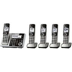 Panasonic KX-TGF375S DECT 6.0 Cordless Phone and Answering Machine System with 5 Handsets - Silver