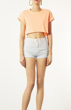 Topshop Moto 'Poppy' Overdyed Stripe Shorts available at #Nordstrom    Super cute I love <3 <3 <3