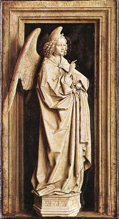 n van Eyck-Annunciazione ,olio su tavola in grisaille, 1440 circa. È composto da due pannelli che misurano 24x39 cm /pannello con l'angelo annunciante)Museo Thyssen-Bornemisza di Madrid