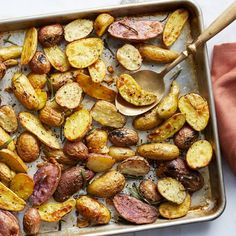 Oven-roasted fingerling potatoes can be a special holiday side dish, but they're quick enough to enjoy on a weeknight too. The secret to these crispy roasted fingerling potatoes? Getting the baking sheet nice and hot before you spread the potatoes on it. Potato Sides, Potato Side Dishes, Healthy Side Dishes, Side Dishes Easy, Side Dish Recipes, Recipes Dinner, Yummy Recipes, Recipies, Roasted Potato Recipes