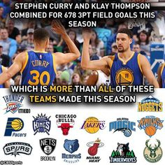 Stephen Curry and Klay Thompson have been a ridiculous duo this season. 4/14/2016