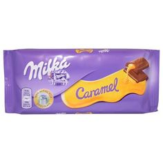 Milka - Caramel (Pack of Delicious Alpine Milk Chocolate with Caramel Filling. Made with Alpine Milk Chocolate. Imported from Europe. Note: European Expiration Date DD/MM/YYYY. Store in a cool and dry place. Chocolate Brands, Chocolate Flavors, Chocolate Caramels, Chocolate Gifts, Candy Recipes, Gourmet Recipes, Whey Powder, Candy Brands, Powdered Milk