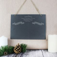 Engraved Christmas Wish List Hanging Slate Sign Christmas Themes, Christmas Gifts, Slate Signs, Secret Santa Gifts, Xmas Decorations, Personalized Gifts, Nice, Xmas Presents, Personalised Gifts