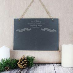 Engraved Christmas Wish List Hanging Slate Sign Christmas Themes, Christmas Gifts, Slate Signs, Character Words, Secret Santa Gifts, Hanging Signs, Rustic Feel, Dear Santa, Xmas Decorations
