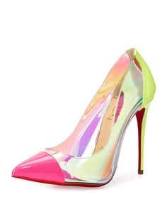 Debout+Patent/PVC+Red+Sole+Pump,+Multicolor+by+Christian+Louboutin+at+Neiman+Marcus.