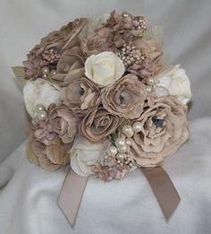 mocha beige bouquet artificial flower foam rose & buttonhole WEDDING pearl tulle