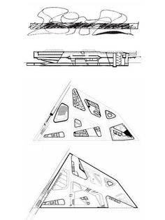 Lauren Juska, Office and Production Manager: Drawings of the Phaeno Science Centre in Wolfsburg, Germany. Zaha Hadid 2000-2005