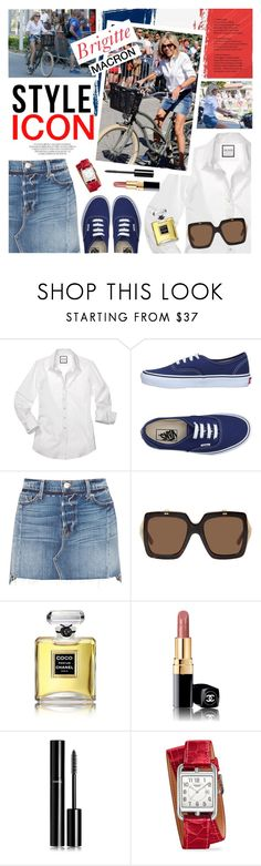 """Style Icon : Brigitte Macron"" by ivansyd ❤ liked on Polyvore featuring Macron, Vans, Frame, Gucci, Chanel, Hermès, denimskirt and BrigitteMacron"