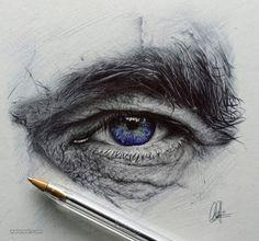 Dibujo con boli bic de ojo humano, de Christopher Herrera
