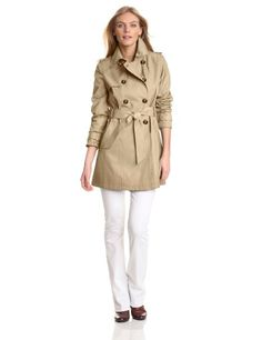Amazon.com: Tommy Hilfiger Women's Double Breasted Belted Water Resistant Rain Trench Coat: Clothing