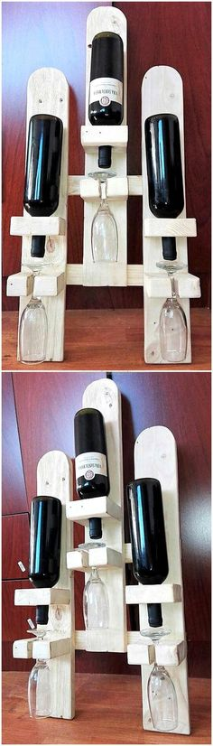 wood pallet bottles and glass holder rack