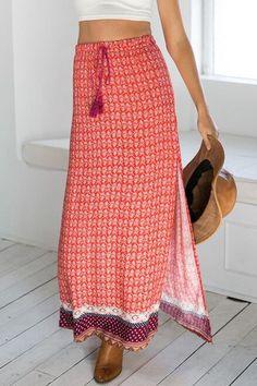 Ethnic Pattern High Slit Drawstring Maxi Skirt