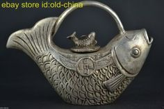 China Vintage Style Decorate Old Tibet Silver Fish Lucky Rare Noble Teapot photo