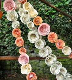 Orange, Pink & Recycled Book Page Paper Flower Garland -  Set of 4
