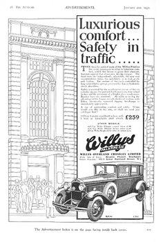 Willys Palentine Six 6 Saloon Motor Car Autocar Advert 1931