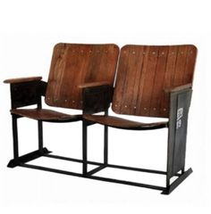 Vintage Double Theater Seat Seating Wooden Fold Up Down Old Replica Furniture | eBay