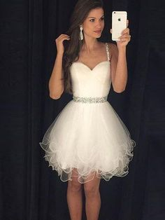 Cute A-line Sweetheart Tulle Short/Mini Beading Ivory Prom Dresses