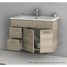 Bathroom Vanity, ACF LOR03, 32 Inch Vanity Cabinet With Fitted Sink LOR03