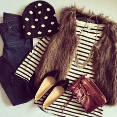 Could recreate with my striped beanie, polkadot sweater & black vest.